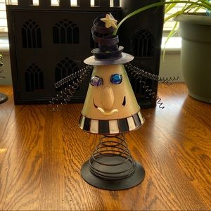 NWOT Metal Spring Witch 3D tea light candle holder